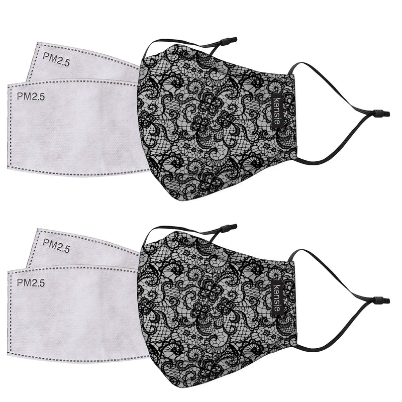 kensie 2 Piece Reusable Fashionable Face Masks PLUS 4 BONUS Air Filters