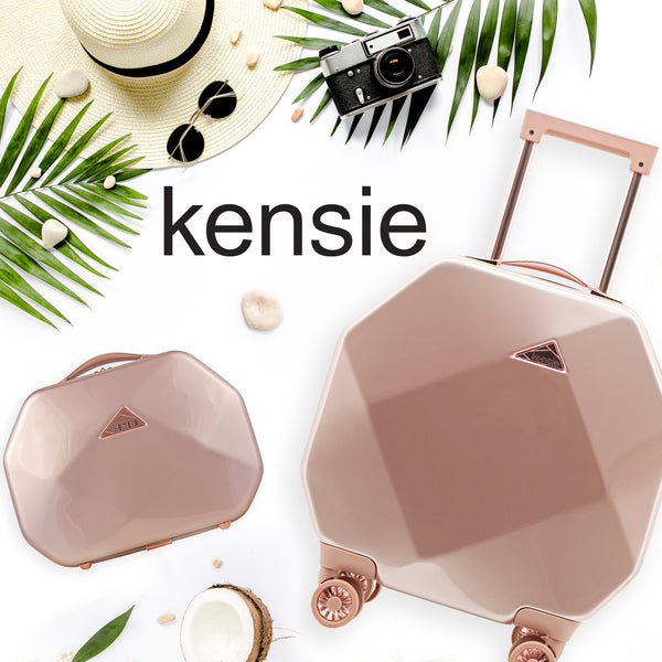 kensie 2 Piece Gemstone Carry-On and Cosmetic Case Set