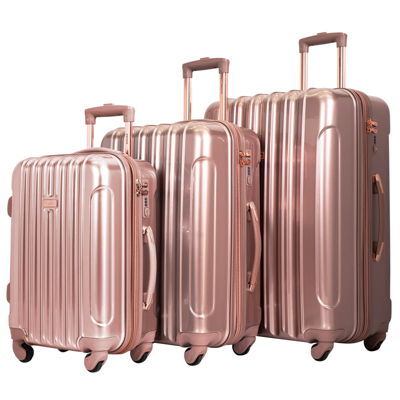 kensie Alma Collection, 3-Piece Metallic Spinner Luggage Set