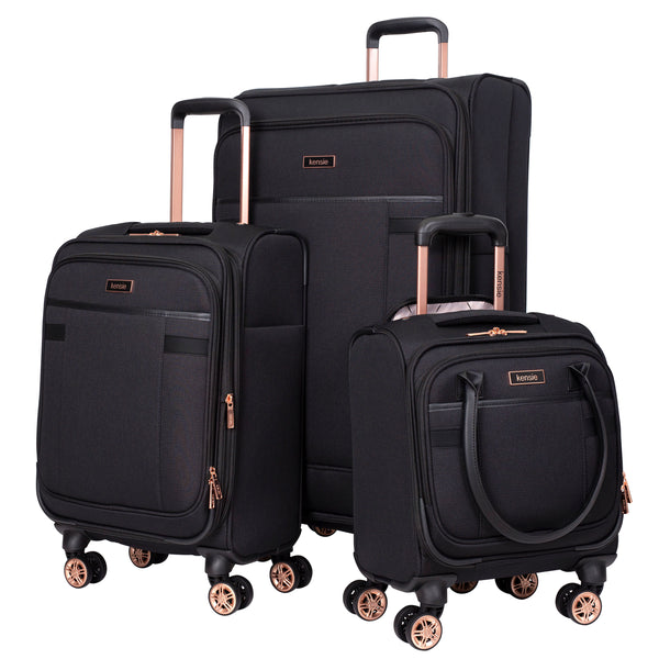 kensie Hudson Collection, 3-Piece Expandable Rolling Softside Luggage Set
