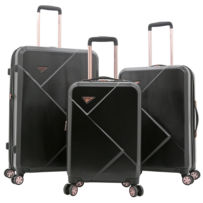 Grace Collection, 3-Piece Expandable Rolling Hardside Luggage Set