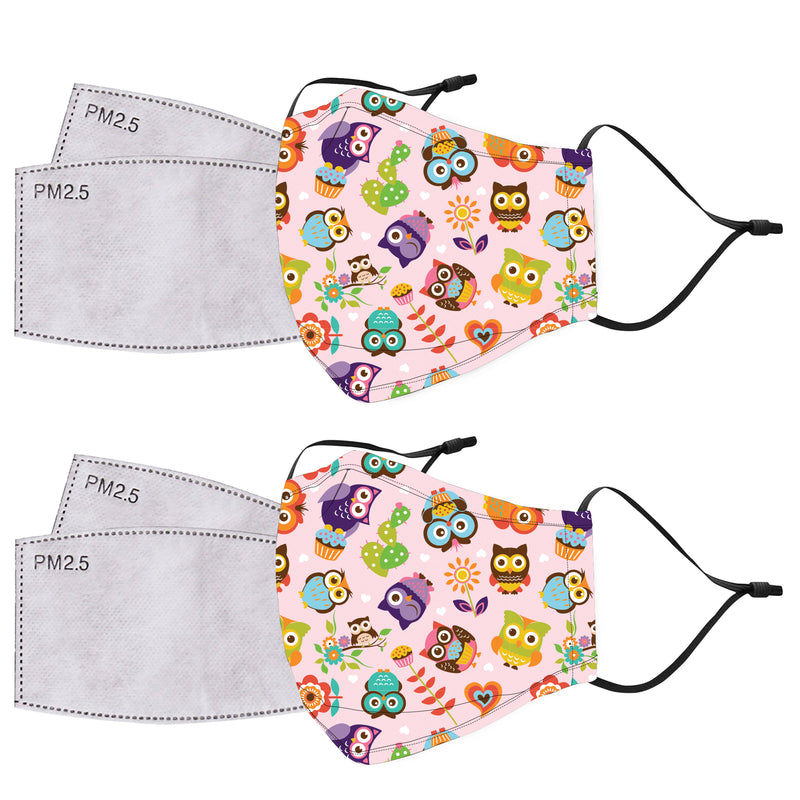 Kids 2 Piece Reusable Face Masks PLUS 4 BONUS Air Filters