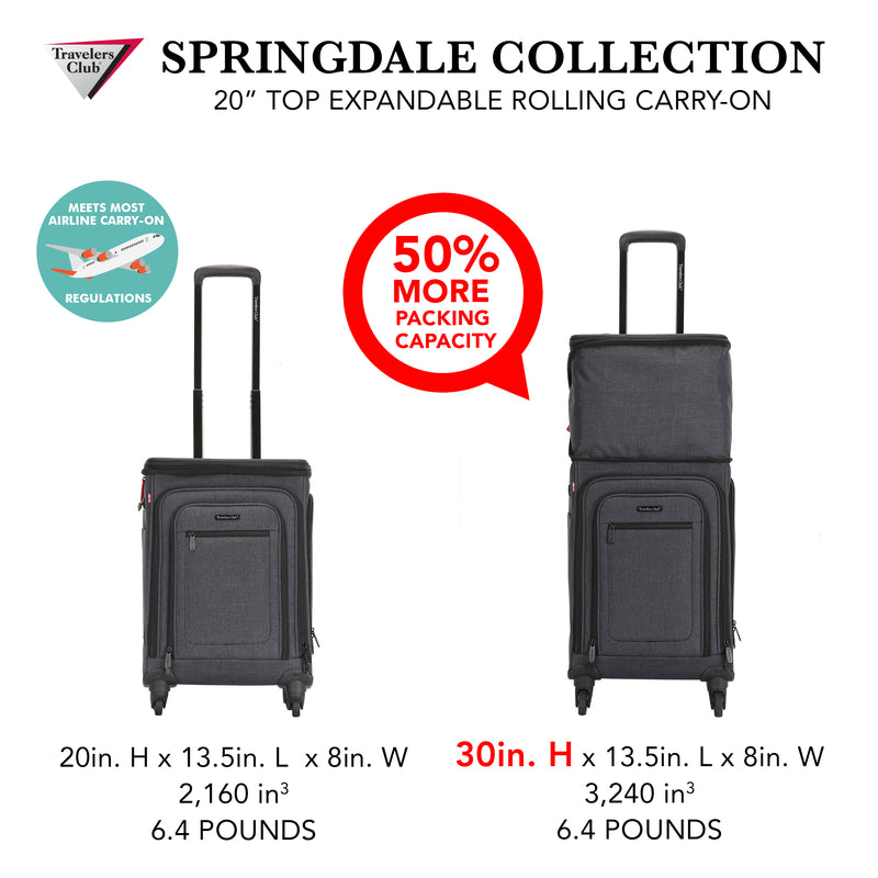"Travelers Club Springdale 21"" Expandable Spinner Carry-On"