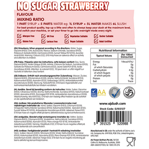 No Sugar Strawberry Slush Syrup - 2 x 5 Litre Bottles