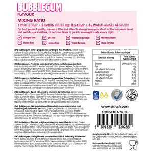 Bubblegum Slush Syrup - 2 x 5 Litre Bottles