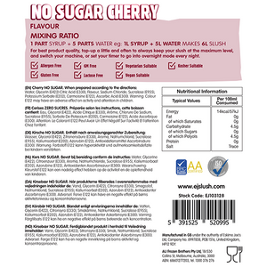 No Sugar Cherry Slush Syrup - 2 x 5 Litre Bottles