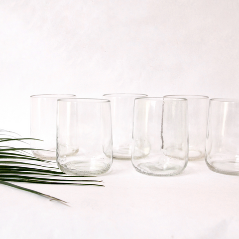 Transparent Water Glasses - Handmade from Up-Cycled Beer Bottles