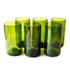 Tall Green Water Glasses - Handmade from Up-Cycled Wine Bottles