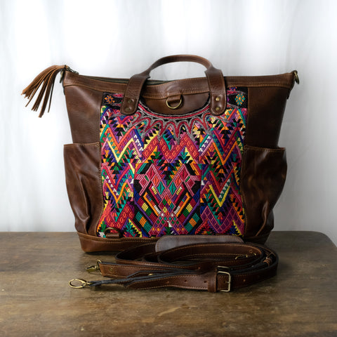 Nahual Multipurpose L Bag |  Dark Brown Leather and Mayan Huipil