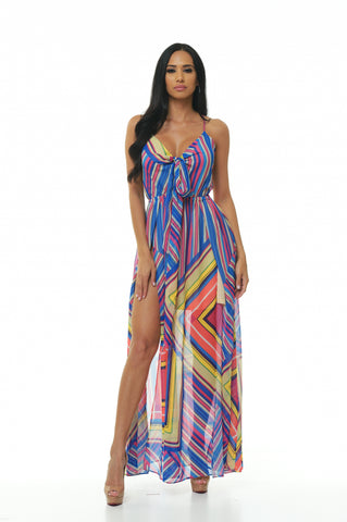 Side Split Square Print Dress