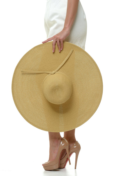 Wide Big Rim Plain Hat - Tan