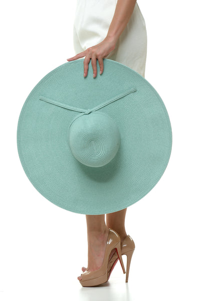 Wide Big Rim Plain Hat - Teal Blue
