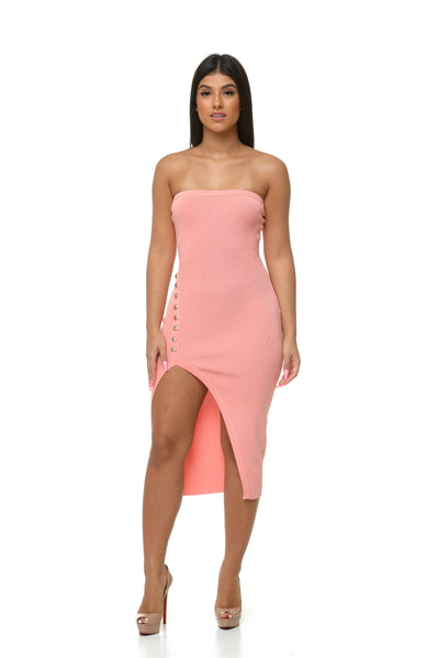 Mila Tube Top Midi Dress - Pink