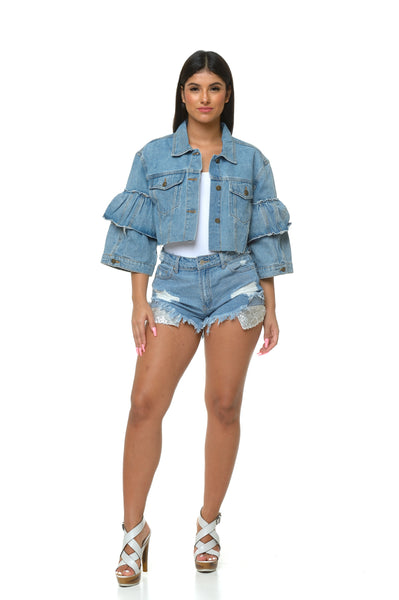 Becca Sequins Pocket Denim Shorts