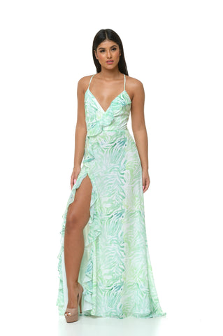 Luna Tropical Slip Dress - Green