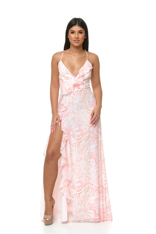 Luna Tropical Slip Dress - Pink