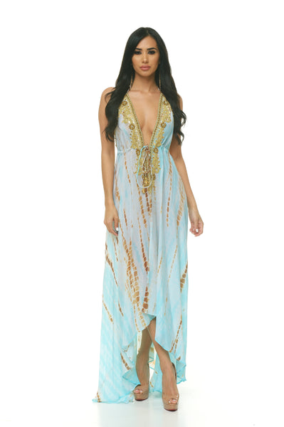 Beaded Scarf Dress: Ocean