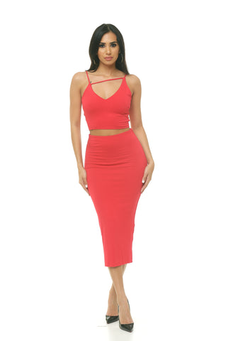 Spaghetti Strap Two Piece Skirt Set