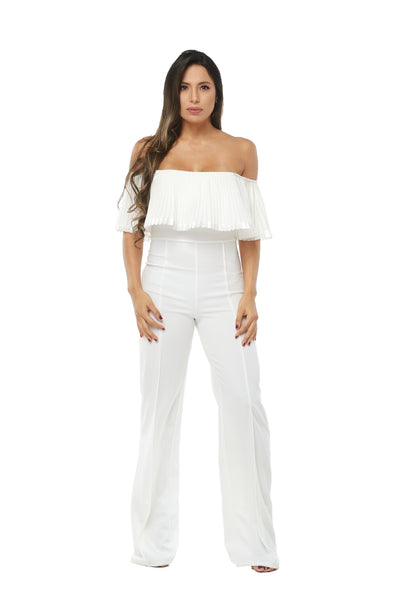 Fairy Pleated Off Shoulder Jumpsuit