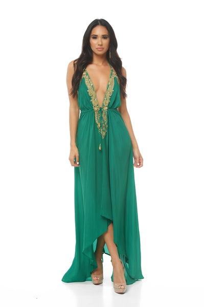 Hand Beaded Halter Dress