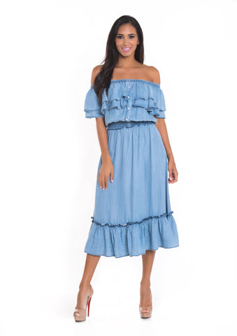 Flora Denim Dress