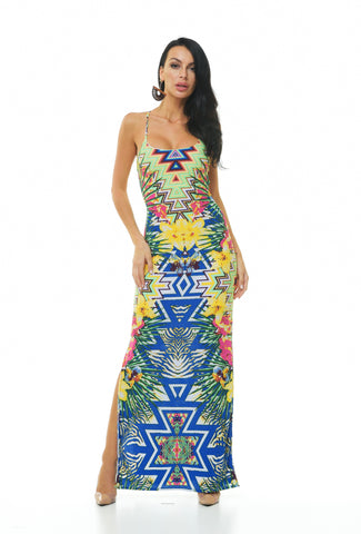 Madrid Print Maxi Dress