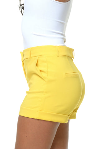 Daisy Yellow Cuff Shorts