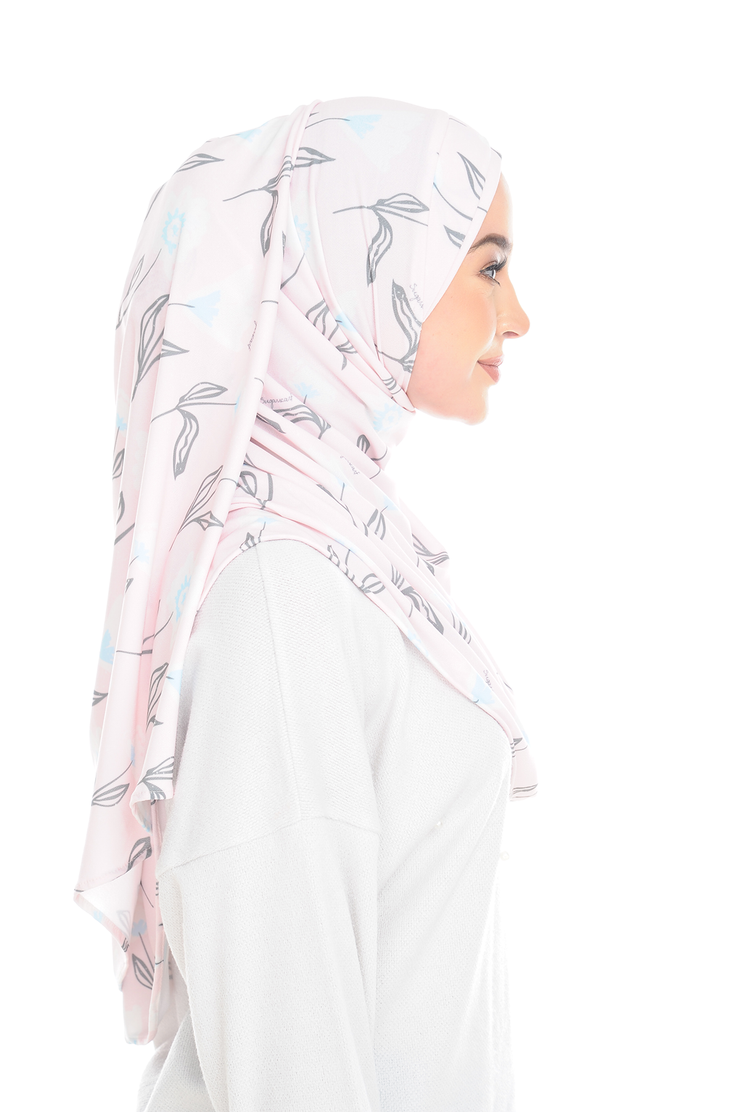 ( CreamyPink Flower ) Pinless Semi Instant Shawl - Cross Cross