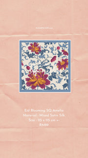 Eid Blooming Mixed Satin Silk (Square ) - Amelia