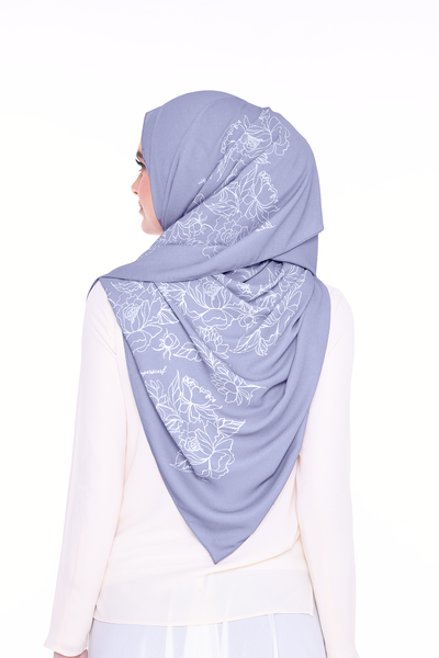 Long Shawl Flowy Chiffon PURE ( Dusty Blue  )