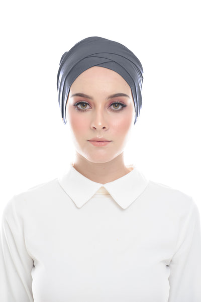 Classic Inner Hana Snow Cap ( No tie back ) - Layered Style ( Dark Gray ) - Sugarscarf