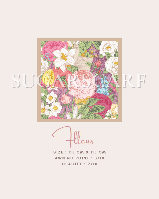( Square )  The Iconic You Blooming Series Mixed Satin Silk ( Flleur )