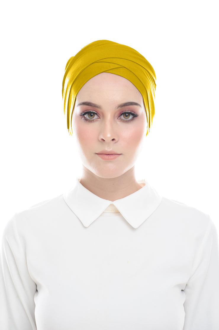 Classic Inner Hana Snow Cap ( No tie back ) - Layered Style ( Mustard ) - Sugarscarf