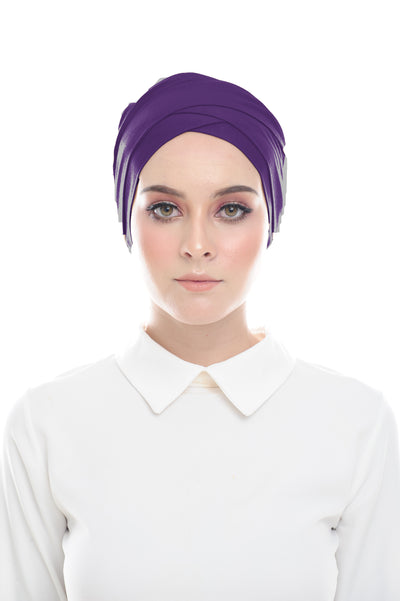 Classic Inner Hana Snow Cap ( No tie back ) - Layered Style ( Purple ) - Sugarscarf