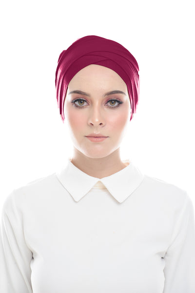 Classic Inner Hana Snow Cap ( No tie back ) - Layered Style ( Ruby ) - Sugarscarf