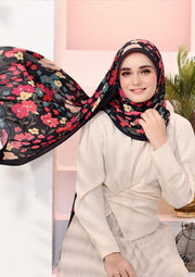 (Full Pleats ) BLOOMING EID Shawls in PRISTINE BLACK