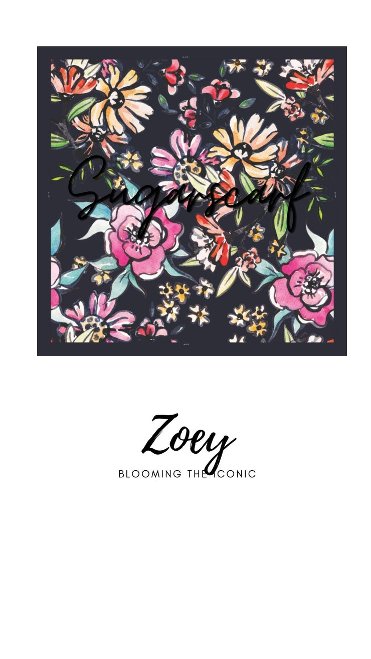 ( Square )  The Iconic You Blooming Series Mixed Satin Silk ( Zoey )