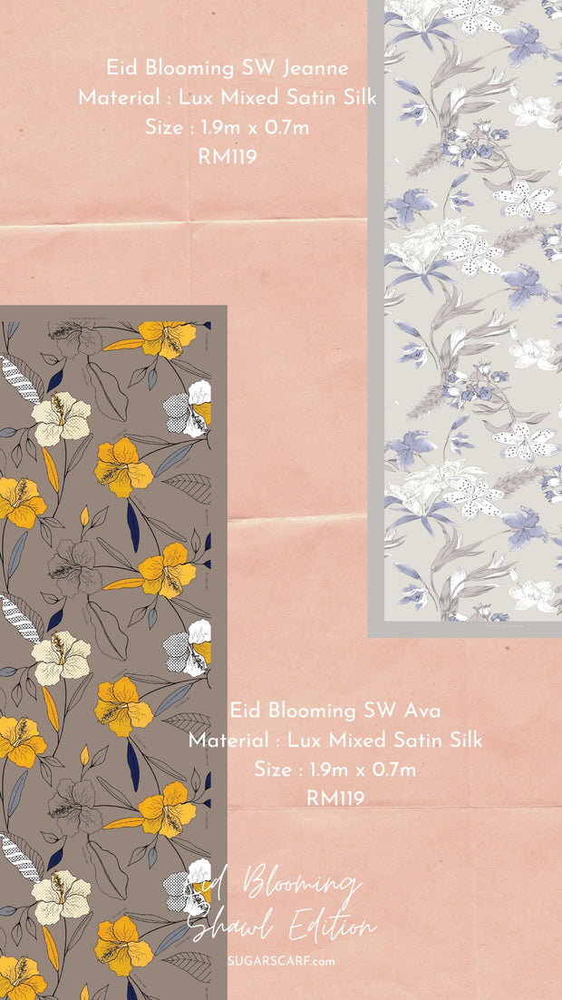 Eid Blooming Lux Mixed Satin Silk ( Shawl ) - Jeanne