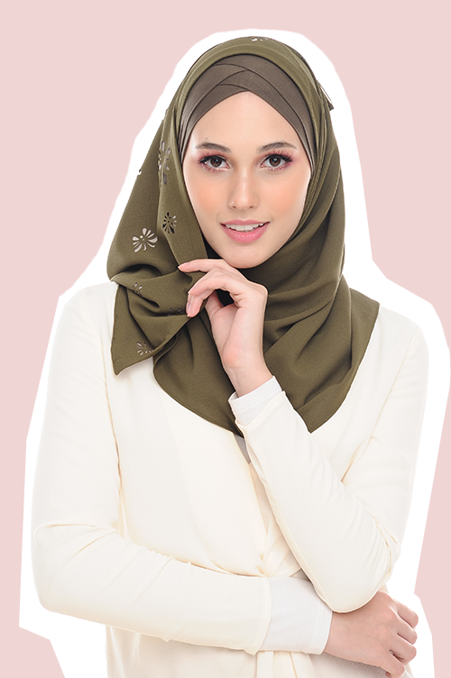 Instant shawl VM Butterfly CutOut Olive Green