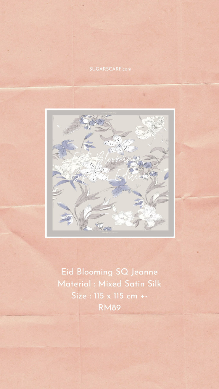 Eid Blooming Mixed Satin Silk (Square ) - Jeanne