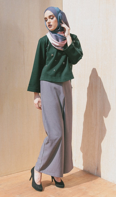 GRAY CHARLOTTE PANTS - Sugarscarf