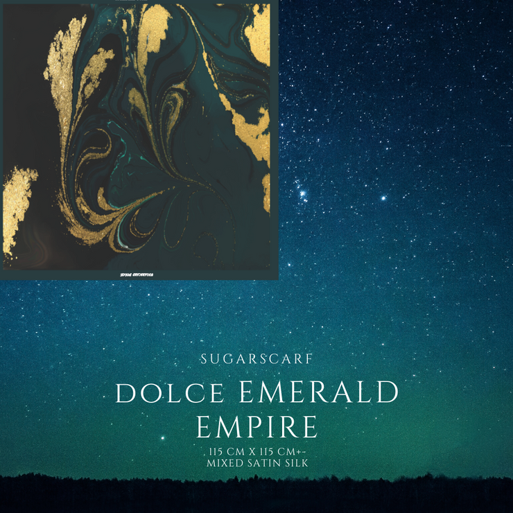 (Square) DOLCE Mix Satin Silk Scarf -  Emerald Empire ( Preorder) Before 15th