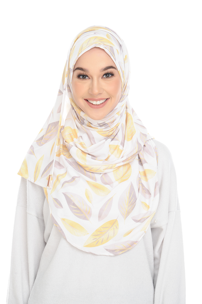 (Shiny Leaves ) Pinless Semi Instant Shawl - Criss Cross