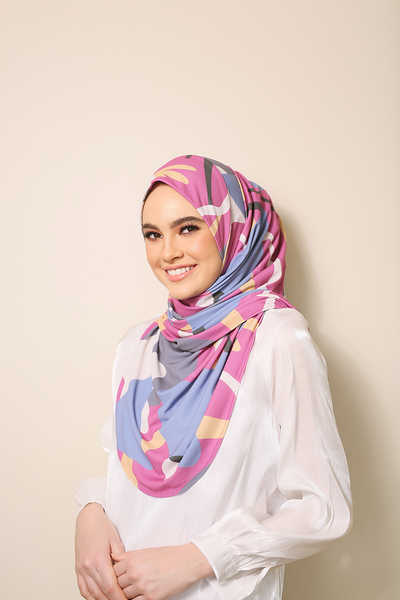 ( Summer Purple ) JULIA Pinless Semi Instant Shawl - Round Awning