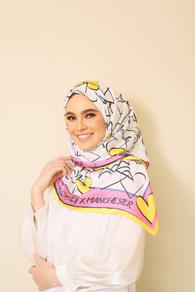 (Square) MYLOVE Cheerful Mixed Satin Silk Scarf