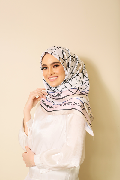 (Square) MY LOVE Girly Mixed Satin Silk Scarf