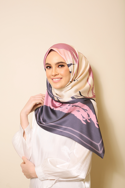 (Square) Euphoria Delighted Mixed Satin Silk Scarf