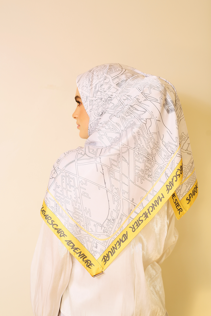 (Square) Manchester Adventure Mixed Satin Silk Scarf