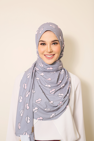 (Gray CrazyLips )Julia Round Awning Pinless Semi Instant Shawl