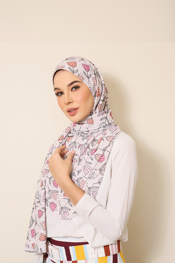 ( Dallas Tulips ) Julia Round Awning Pinless Semi Instant Shawl